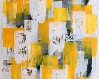 Abstract in white and yellow colors (original acrylic painting)