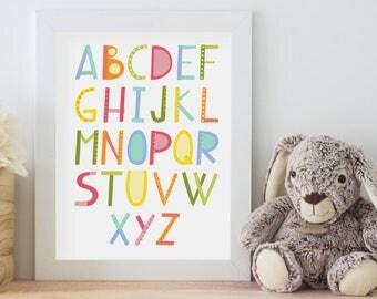 ABC - Printable Art - Nursery Art - Alphabet - 8x10