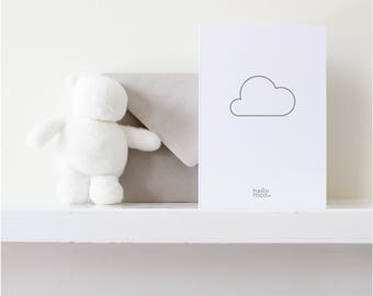 New baby card, baby shower, baby boy card, baby girl card - 'cloud' - mid grey on white