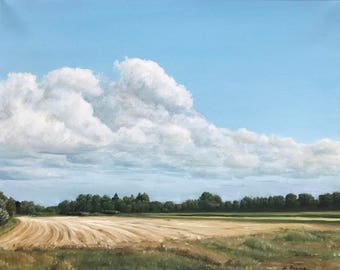 August Fields, Oil Landscape Painting 20x16 by Zata Palange