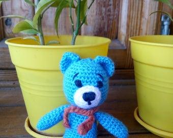 Blue crochet bear  mini toy stuffed animal