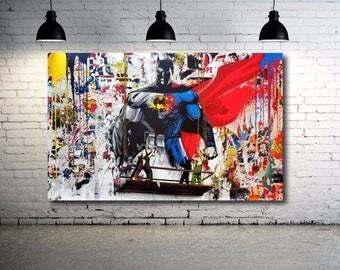 Grafitti art Batman vs. Superman  24 x 18 Canvas Print Giclee Street art