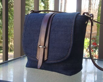 Denim Pouchette_Brown leather trim