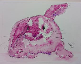 Original Ink Bunny Rabbit Ink Drawing