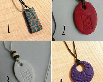 Clay pendants - Handmade essential oils diffuser - DISCOUNT PRICE - Oil Diffuser necklace - Essential Oil Necklace