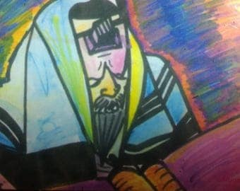 Magnet of original art, Lubavitcher Rebbe's