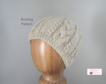 Cable Beanie Hat Knitting Pattern, Intermediate Knit Pattern, Aran Style Hat, Worsted Weight, Adult S M L, Skull Cap
