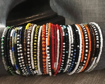Steel and glass beads bracelets adaptable to any arm