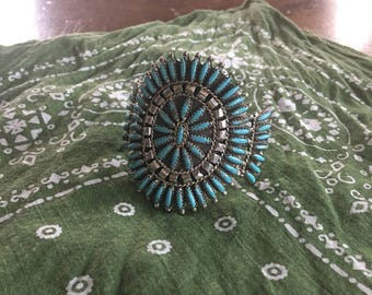 Old Pawn Navajo Turquoise Sterling Needlepoint Cuff Bracelet - Signed by Mathilda Benally