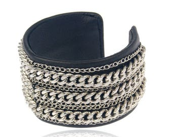 Punk leather opening wide bracelet for women with skull