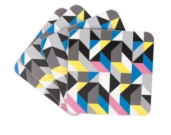 Coaster set with a colourful geometric pattern.