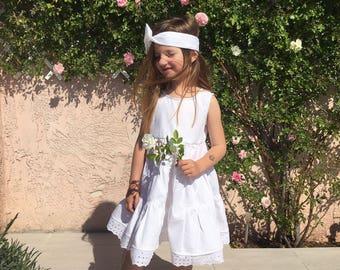 Kitten white dress with lace + headband