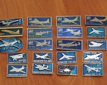 Set of Soviet Vintage pins,collection metal badge, USSR collection badges, aviation, plane аeroflot, military, space, аeronautics
