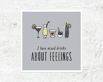 Mixed Drinks & Feelings honest card