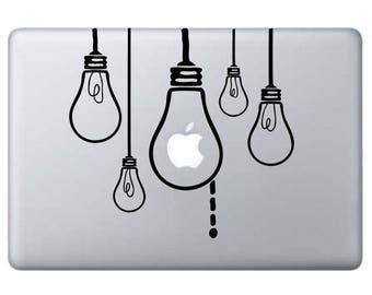Idea Light Bulb Macbook Decal, Light Bulbs Decal, Idea Sticker, Nerd Stickers, Macbook Decals, Macbook Pro Stickers, Think Decals, Nerds