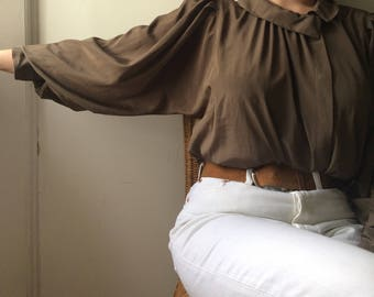 Vintage 80s Silky Blouse - Light Brown - Bell Sleeves - Size 10/S-M