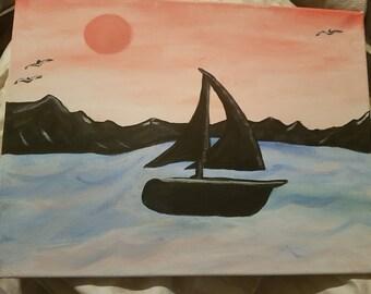 Sailboat with pink skies