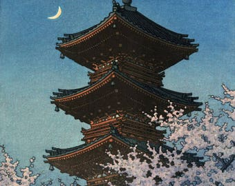 "Japanese Art Print ""Toshogu Shrine in Spring Dusk"" by Kawase Hasui, woodblock print reproduction, cultural art, landscape, crescent moon"