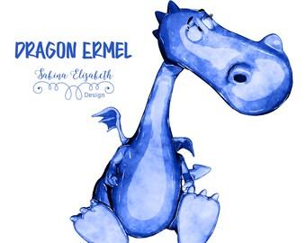 Dragon Ermel 4, blue, Watercolor Clipart, Baby, Child, Fun, Craft
