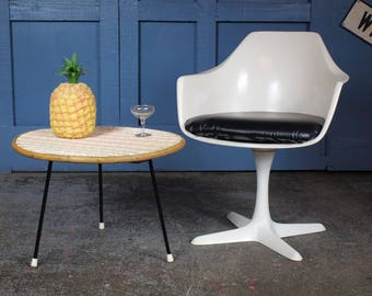 Vintage Mid Century 1950s Atomic Woven Rattan Coffee Table