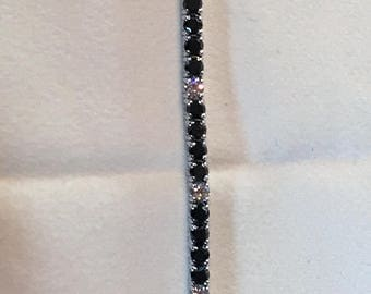 Yarn-white and black diamond Tennis bracelet