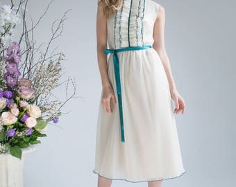 60th silk organza milky dress
