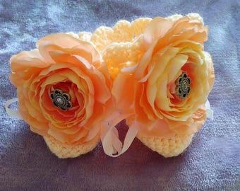 Orange peonie knitted baby booties