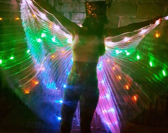 Light up LED shiny iridescent hologram pleated festival carnival dance costume angel fairy wings jacket cape burning man Coachella glasto UK