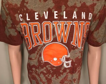 Vintage Cleveland Browns shirt // Big logo // acid bleached washed // faded camo style // adult size large // 90s dawg pound // Rad