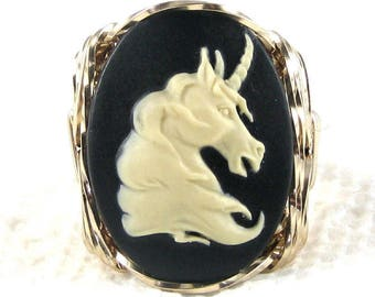 New Vintage Unicorn Cameo 14k Rolled Gold Ring