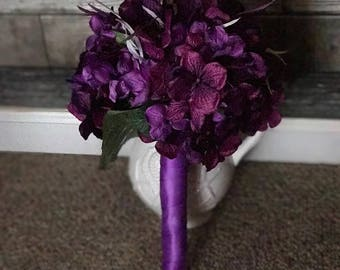 Purple Hydrangea and Feather bridal bouquet
