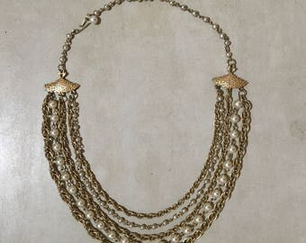 Gold-Tone & Faux Pearl Bib Necklace