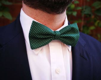 Polka Dot Bow Tie - Mens Bow Ties - Bow Ties for Men - Three Fold Bow Tie - White Polka Dots - Forest Green