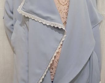 Trench coat in sky-blue and white lace viscose