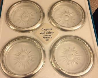Vintage silver/crystal ash tray set