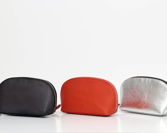 Half moon make up leather pouch