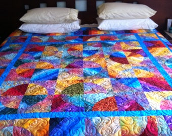 Exquisite Queen Sized Quilt, Hand Pieced, Professionally Machine Quilted.  Named, Colours of Australia