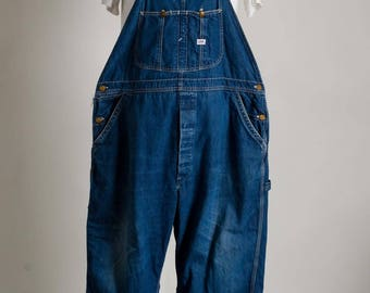Vintage Lee JELT Denim Blue Overalls 100% Cotton Sanforized Union Made in U.S.A.