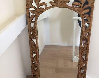 Mid century modern hollywood regency faux bamboo mirror