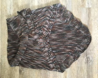 Hand Knitted Shawl with Cable border