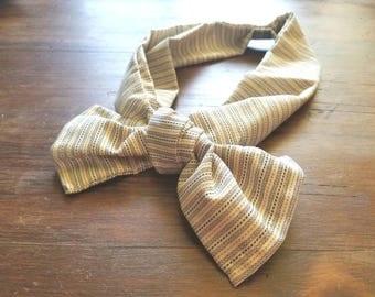 Fabric tie headband headscarf bow band knot pin stripes