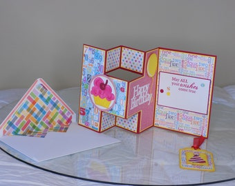 Colorful Birthday Card With Gift Tag and Coordinating Envelope
