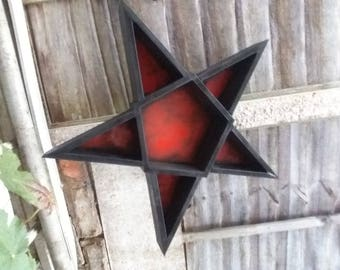 5 pointed star,  pentagram shelf. Hand made to order. Available in a range of colours or unpainted. Message for details