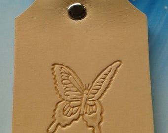 Butterfly leather key ring