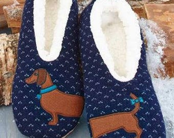 Dachshund slippers - blue - one size fits all