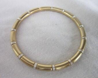 Vintage Retro Designer Brushed Gold & Steel Bangle Bracelet
