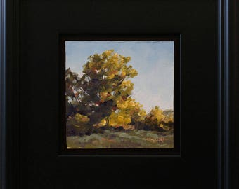 Fencerow Willow, oil painting on hardboard, 5x5 inches, in satin black frame