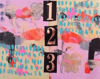 "Abstract Art ""123"" - mixed media painting"