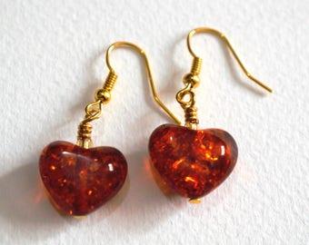 Amber Heart Earrings - Handmade