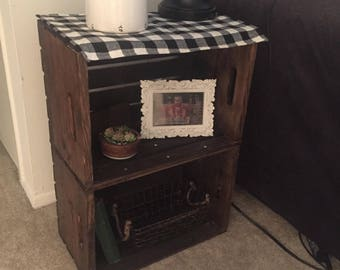 Rustic Wood Crate Side Table -Local pickup or delivery only-